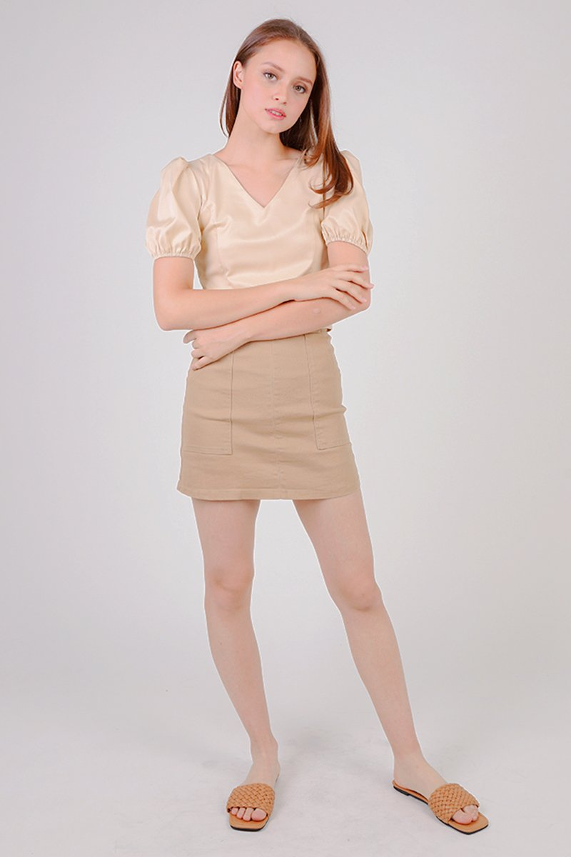 [BACKORDER] Darla Buttoned Front A-line Skirt Caramel