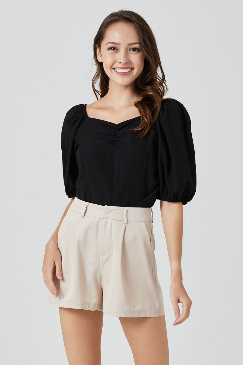 Andrea Puff Sleeve Top Black