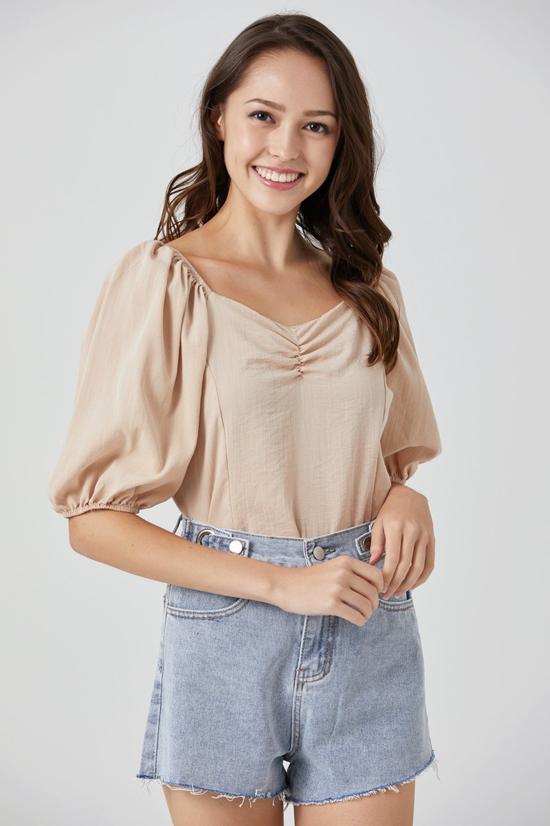 [BACKORDER]Andrea Puff Sleeve Top Sand