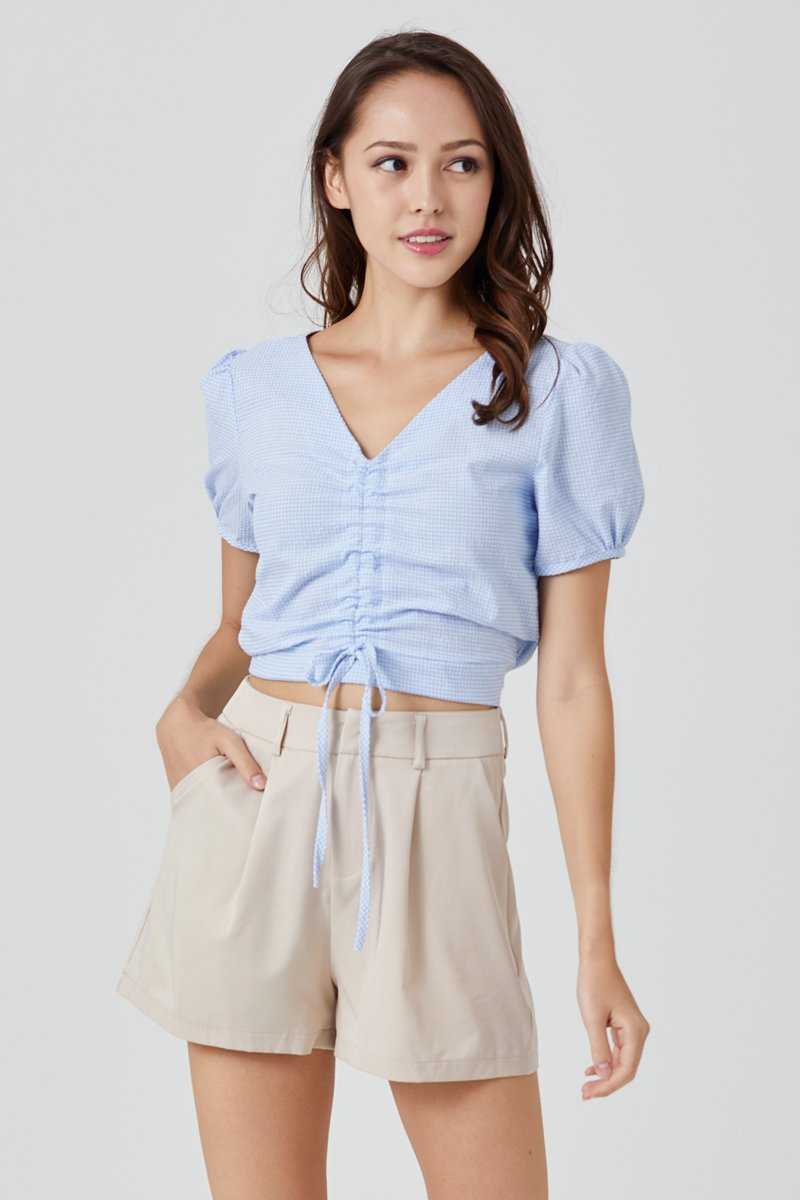 Jezebel Puff Sleeve Gingham Top Sky