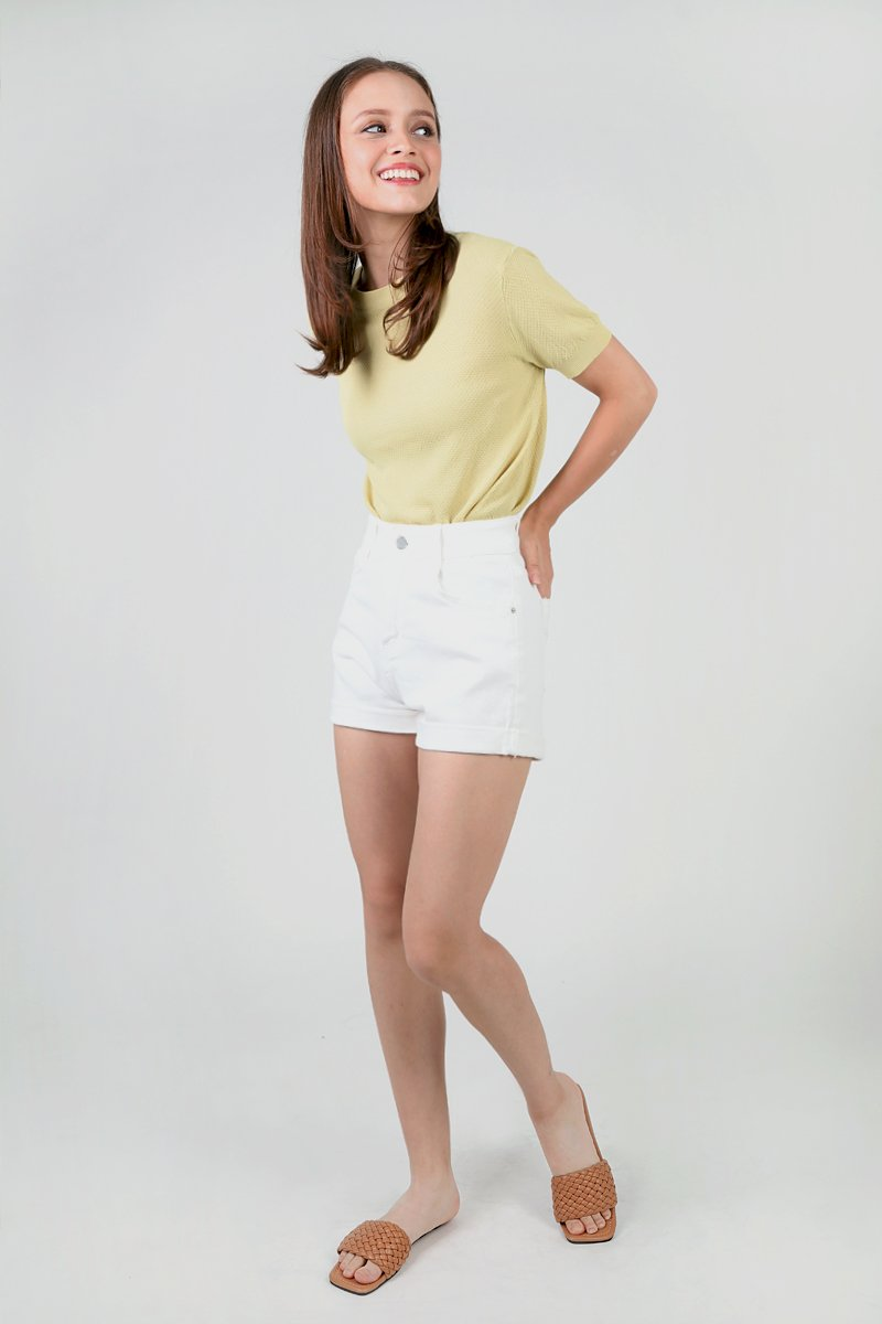 Carrine High-waist Cuffed Denim Shorts Ivory