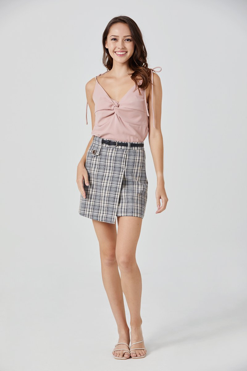Minsy Belted Check Skirt