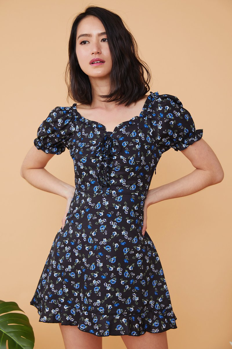 Peridot Floral Off-Shoulder Dress Black