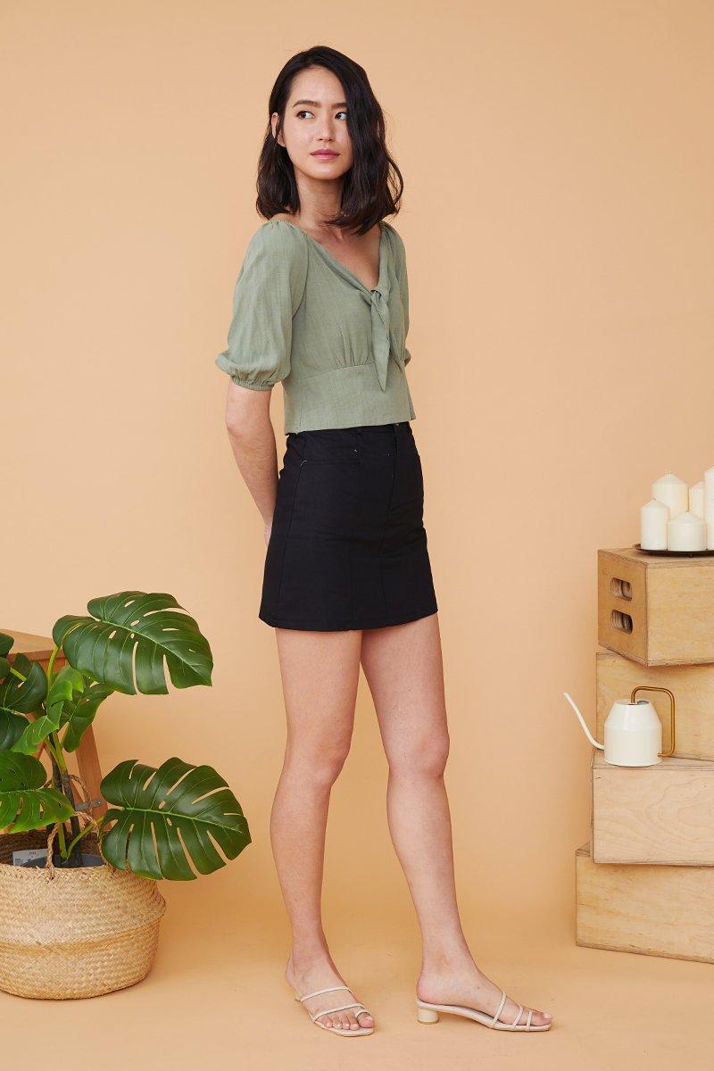 Meadow Geometric Waist Denim Skirt Black