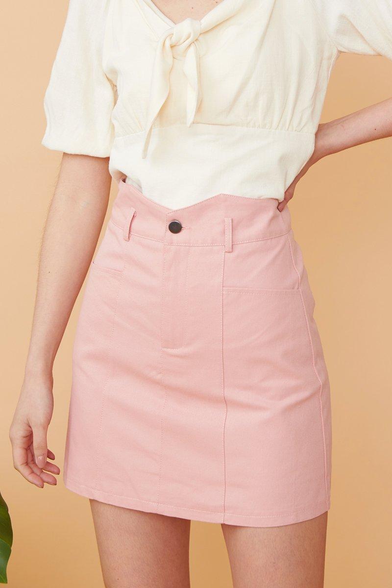 Meadow Geometric Waist Denim Skirt Blush