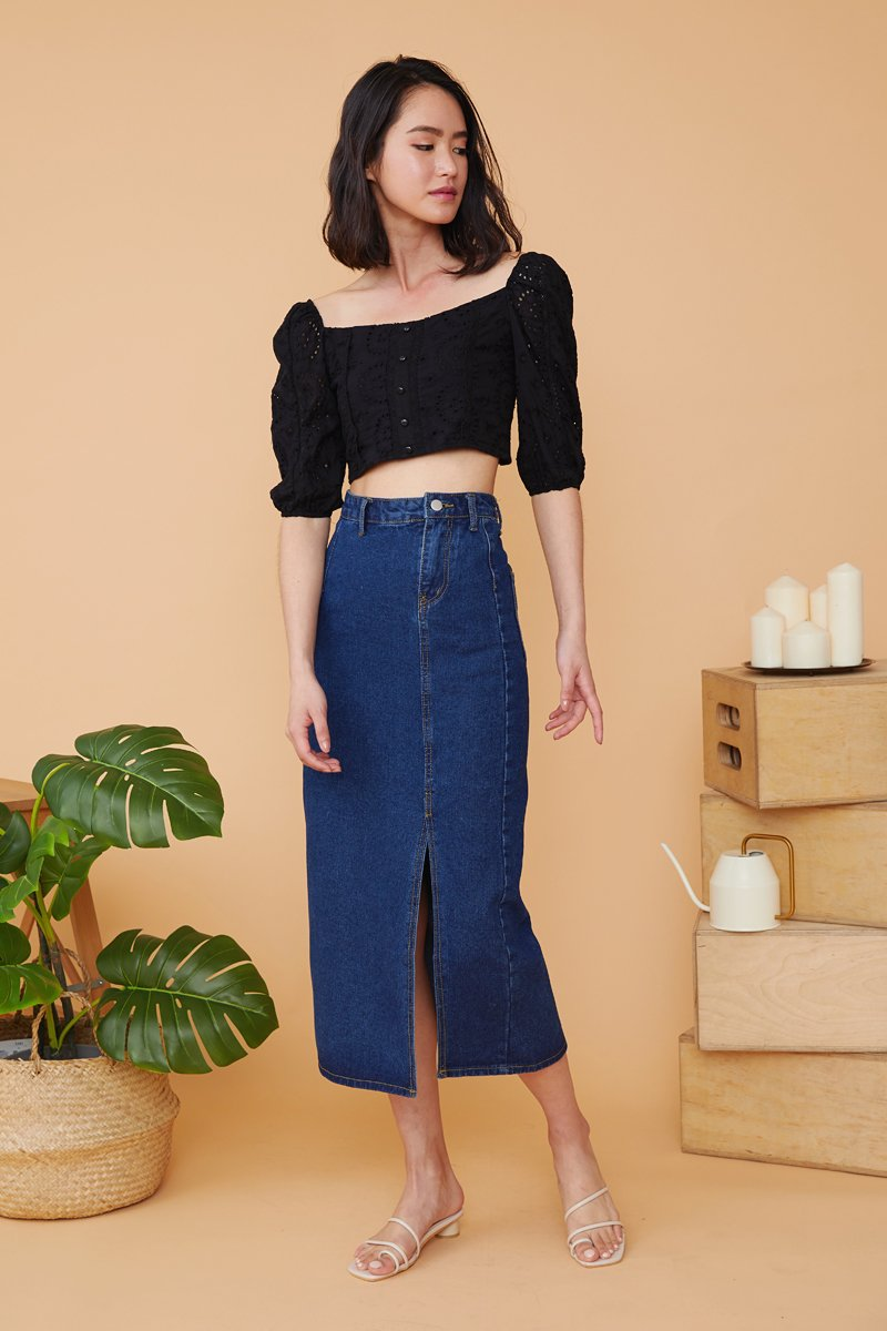 Lillemor Side Slit Maxi Denim Skirt Dark Wash