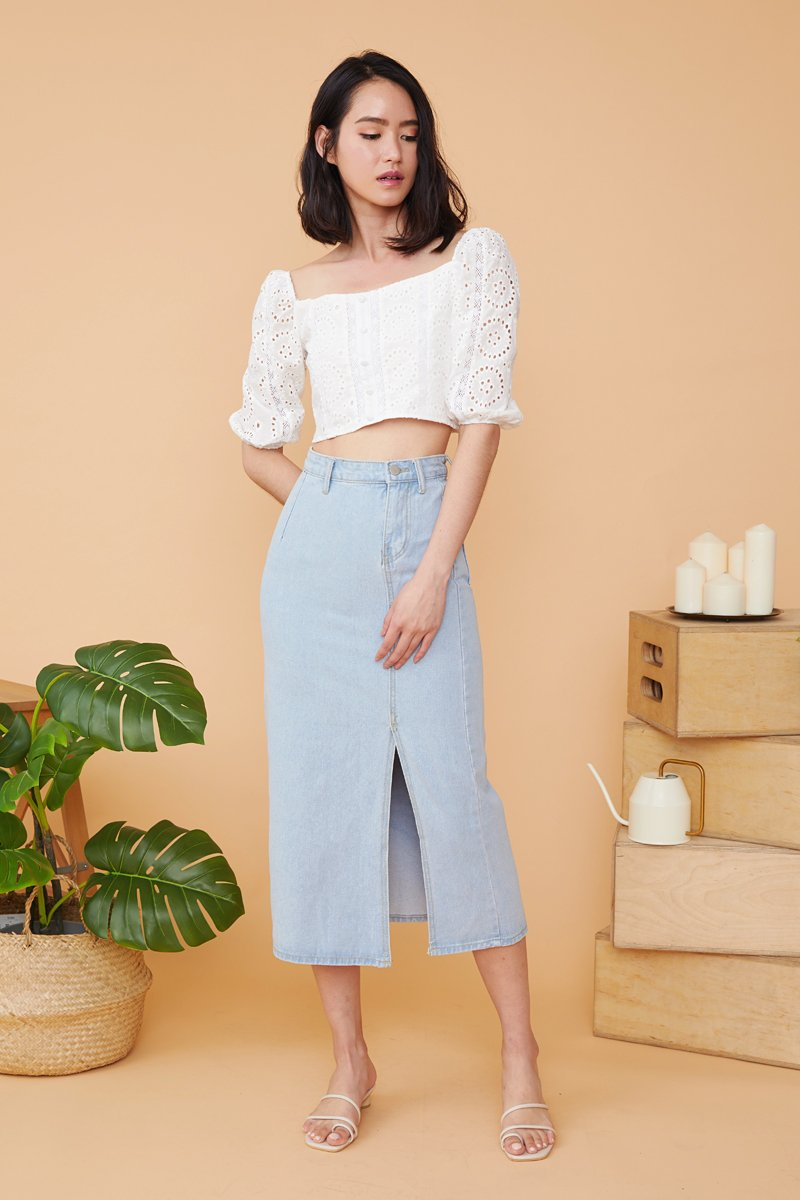 Lillemor Side Slit Maxi Denim Skirt Light Wash
