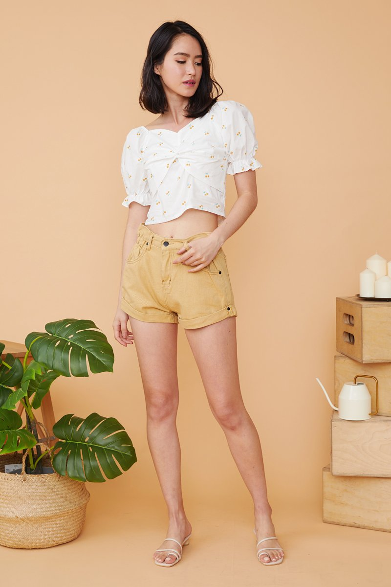 Gaia Side Gathered Denim Shorts Mustard