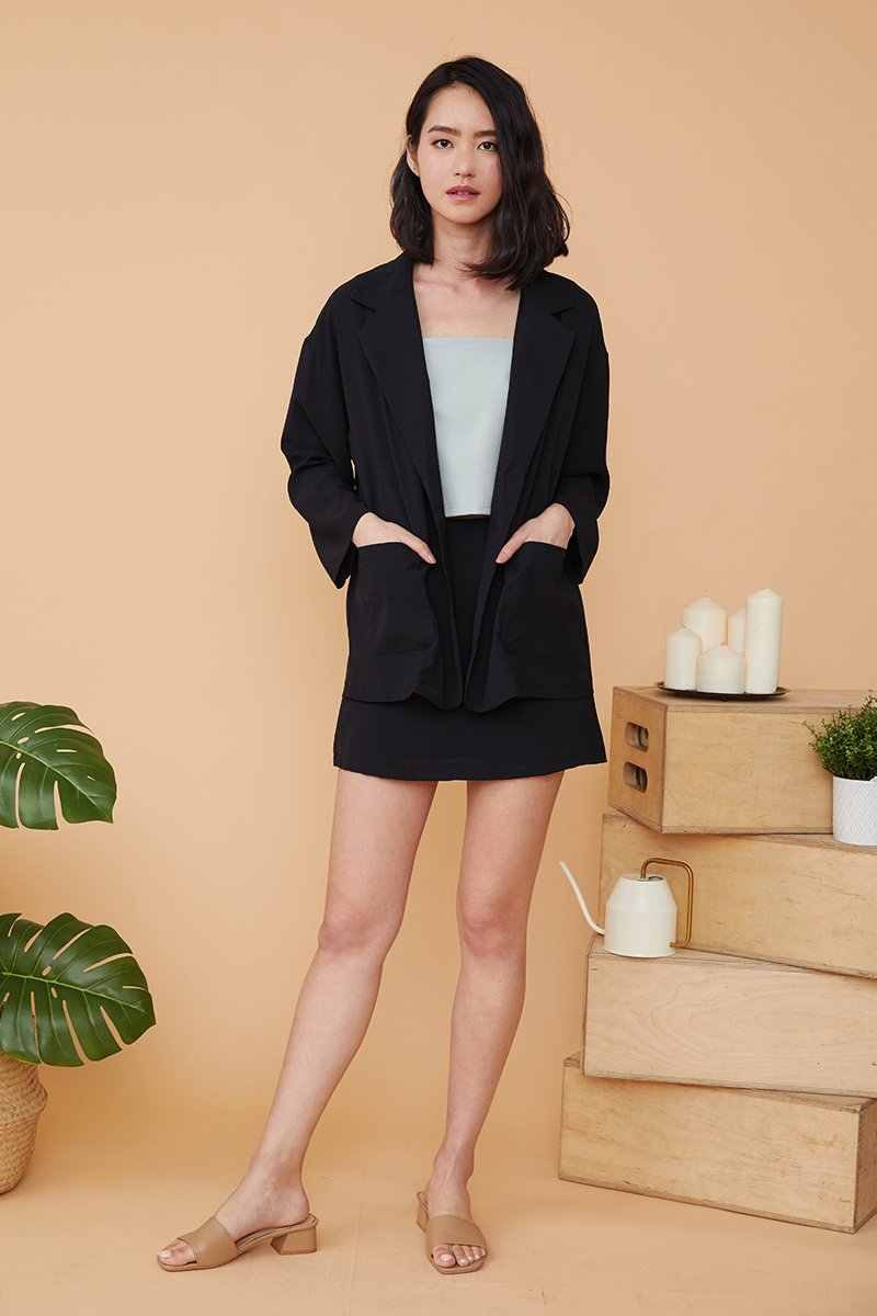 Lilou Blazer with Skirt Set Black