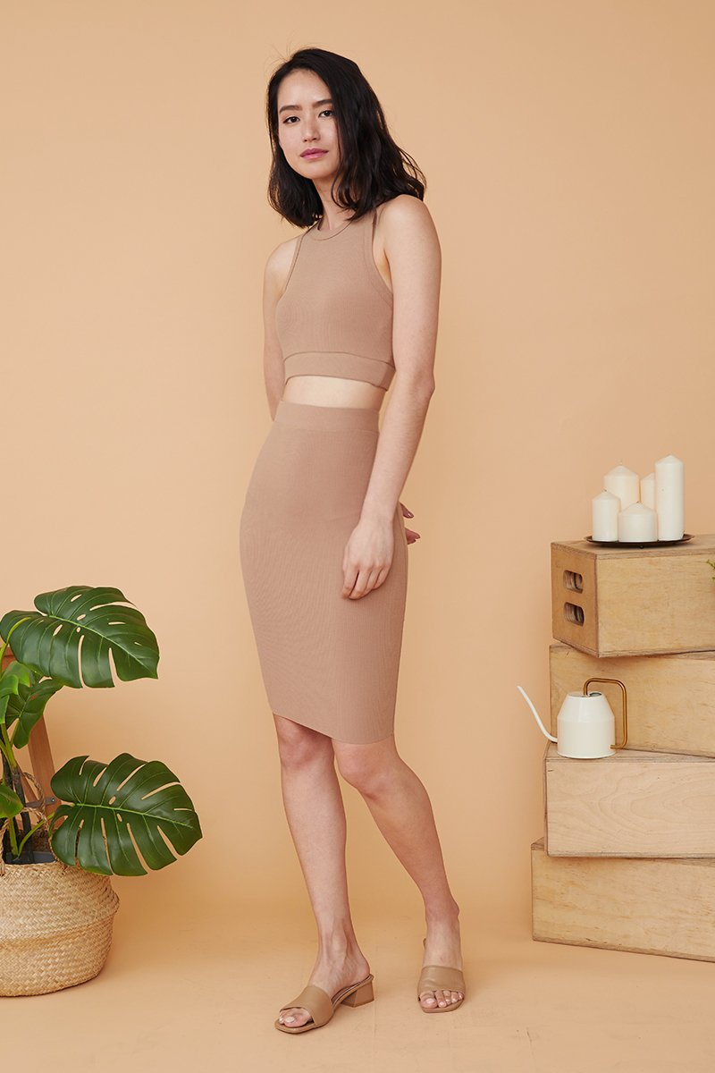 Eulalie Two Piece Dress Set Caramel