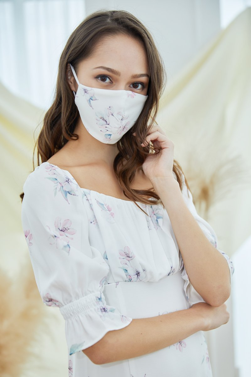 Haru Sustainable Floral Mask Ivory