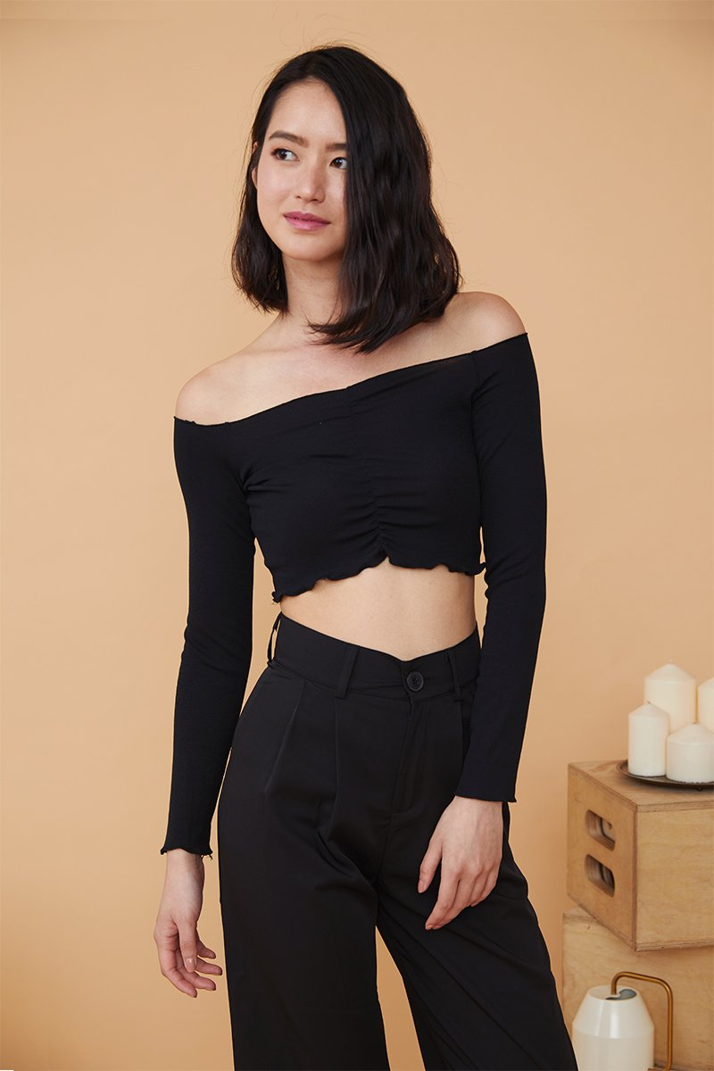 Ambrosia Cropped Off Shoulder Top Black