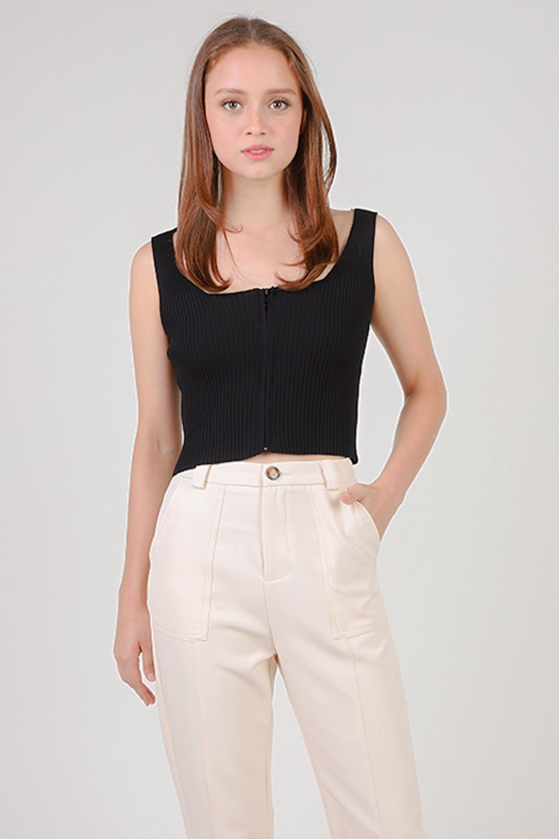 Jaylia Knit Crop Top Black