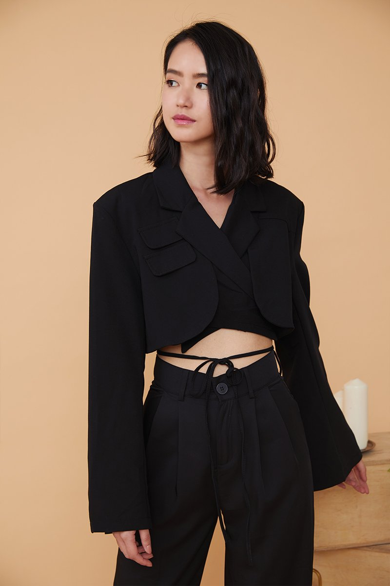Celeste Cropped Blazer Top Black