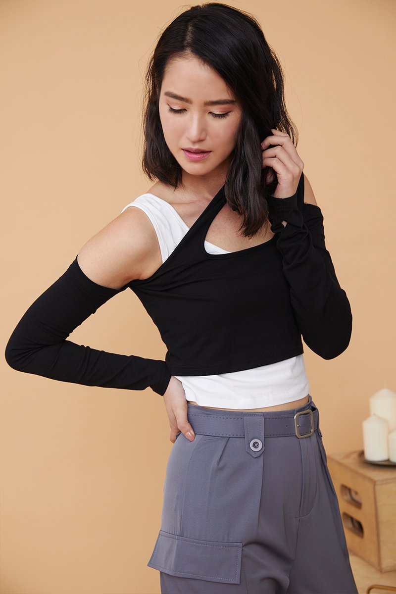 Vangie Cut Out Crop Top Black