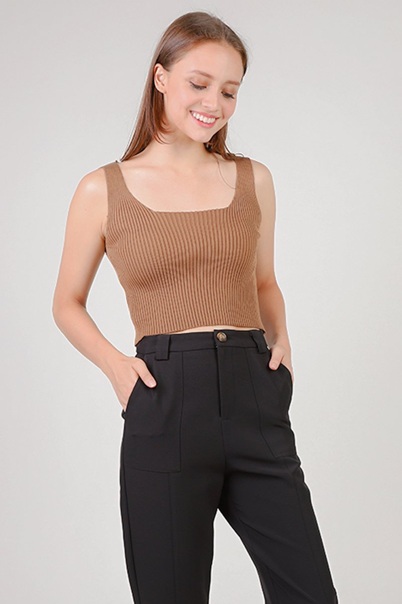 Jaylia Knit Crop Top Caramel