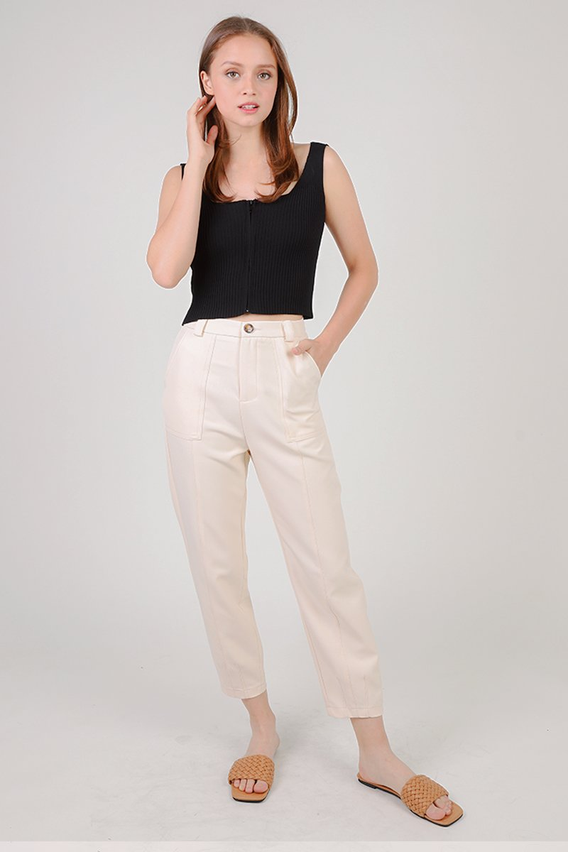 Arabelle Cropped Legged Tailored Pants Cream