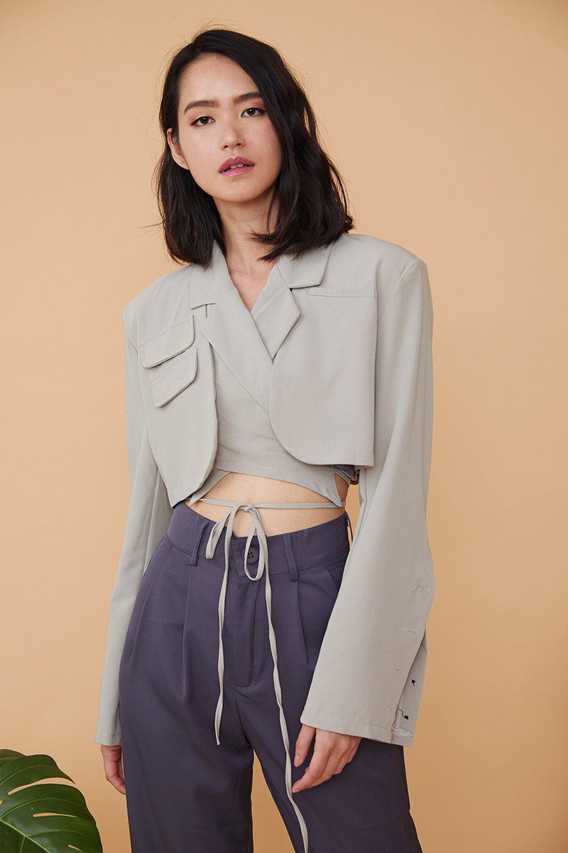 Celeste Cropped Blazer Top Grey
