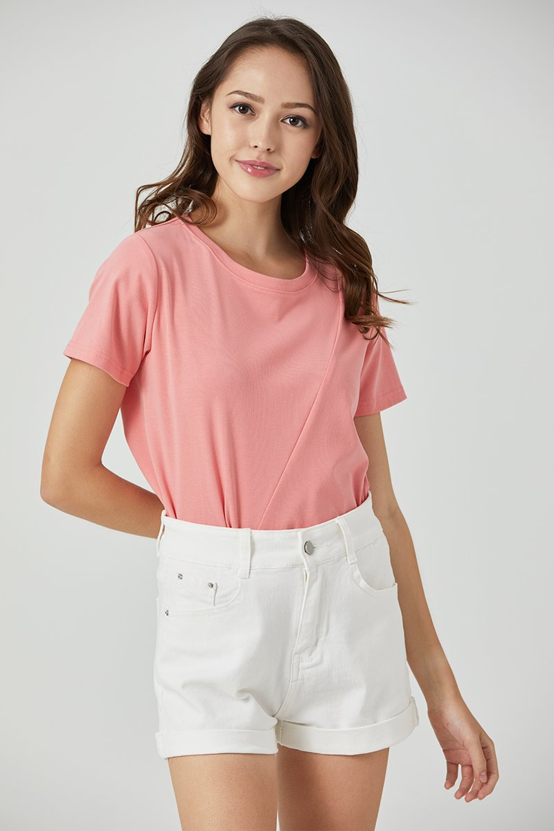 Jennis Front Knot Basic Top Salmon