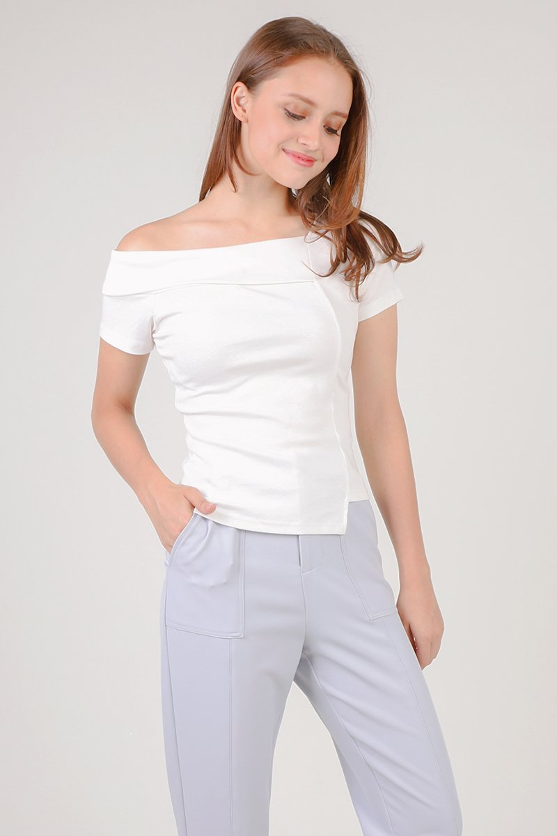 Lexis Cold Shoulder Half Collared Top Ivory