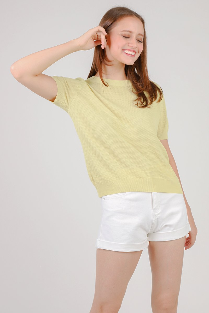 Rylie Round Neck Knitted Top Lime