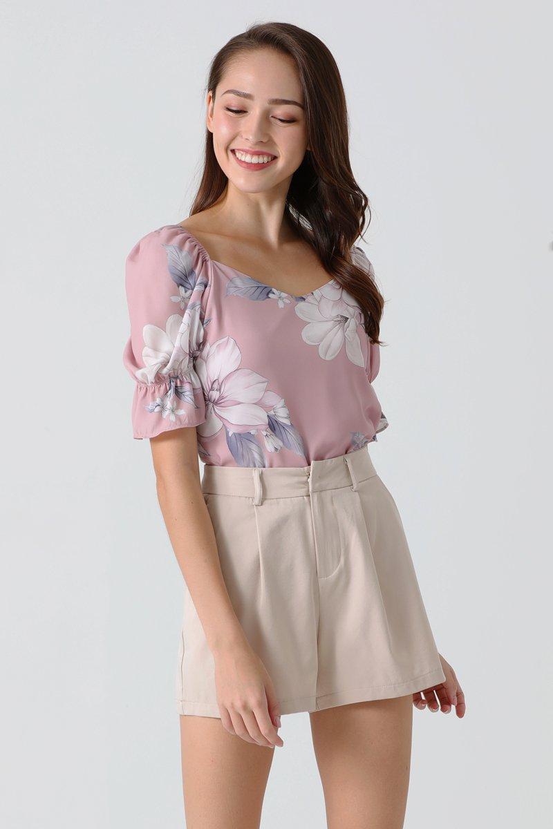 Abilene Floral Puff Sleeve Top Blush