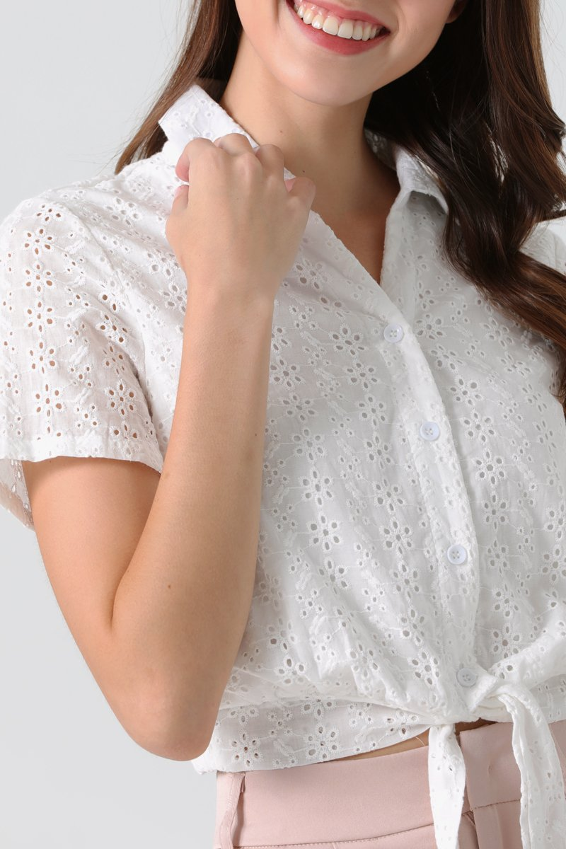 Connie Eyelet Collared Shirt Ivory