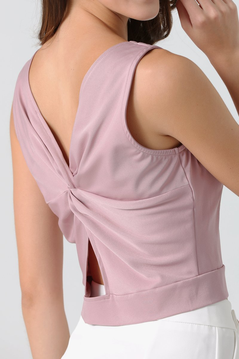 Ariel Twist Back Top Mauve