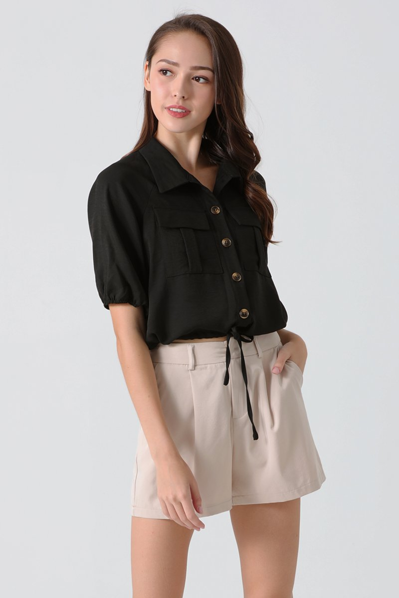 Abigail Utility Button Up Shirt Black