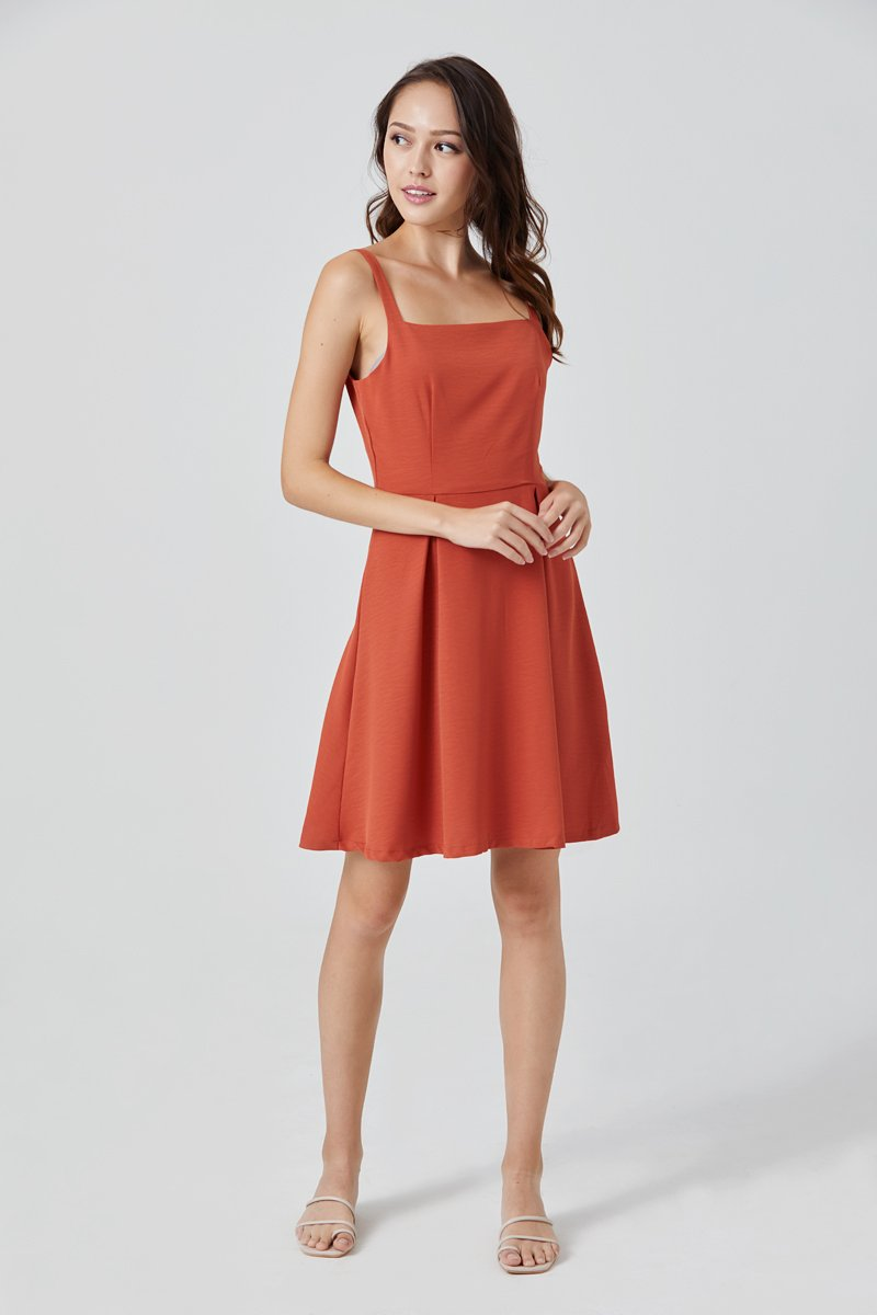 Elvera Side Button Dress Tangerine