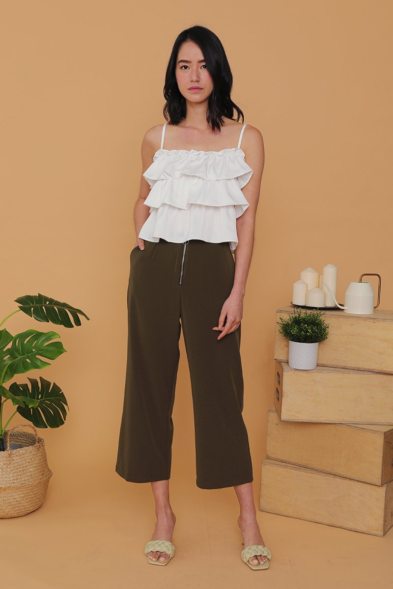 Madelynn Front Zip Wide Legged Pants Olive