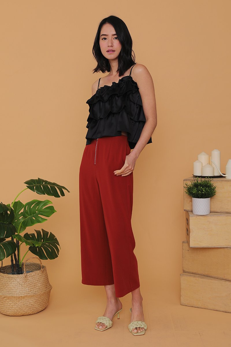 Madelynn Front Zip Wide Legged Pants Brick