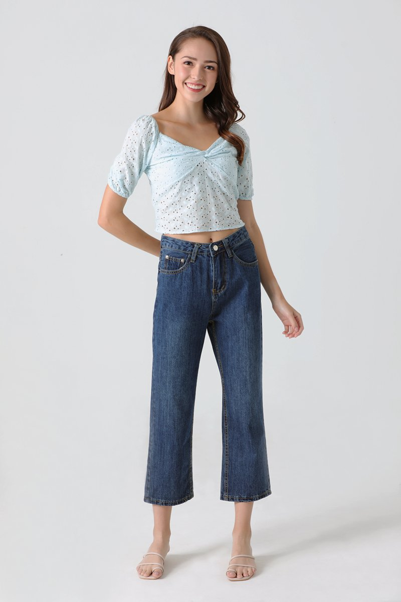Darcy Puff Sleeve Eyelet Top Sky
