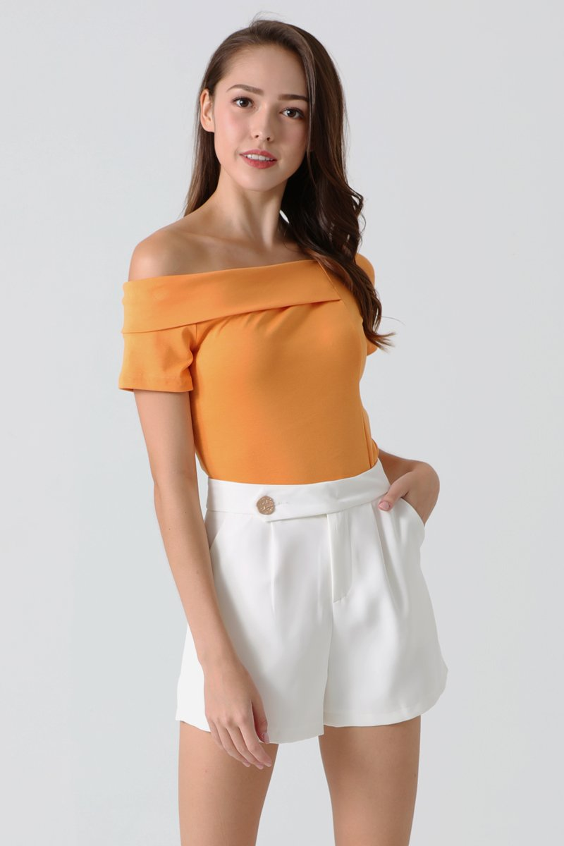 Lexis Cold Shoulder Half Collared Top Orange