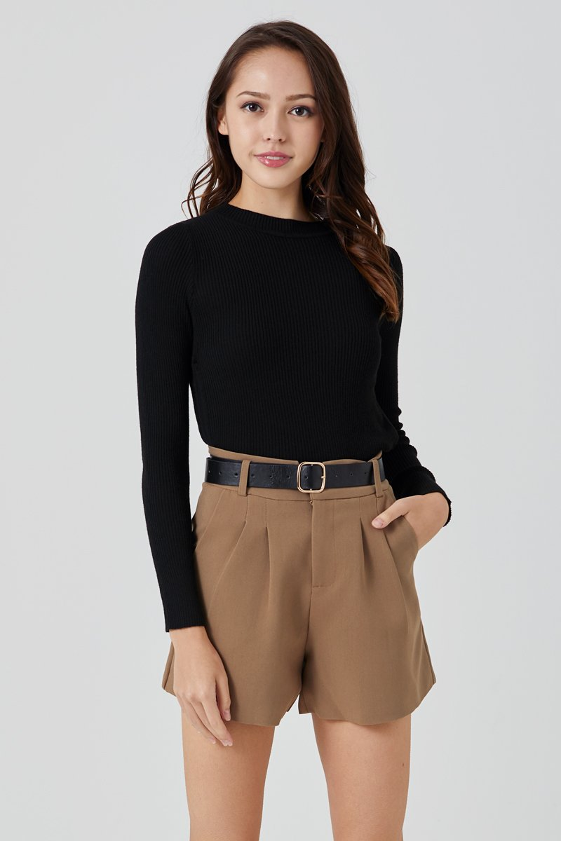 Techa Side Ruched Knit Top Black
