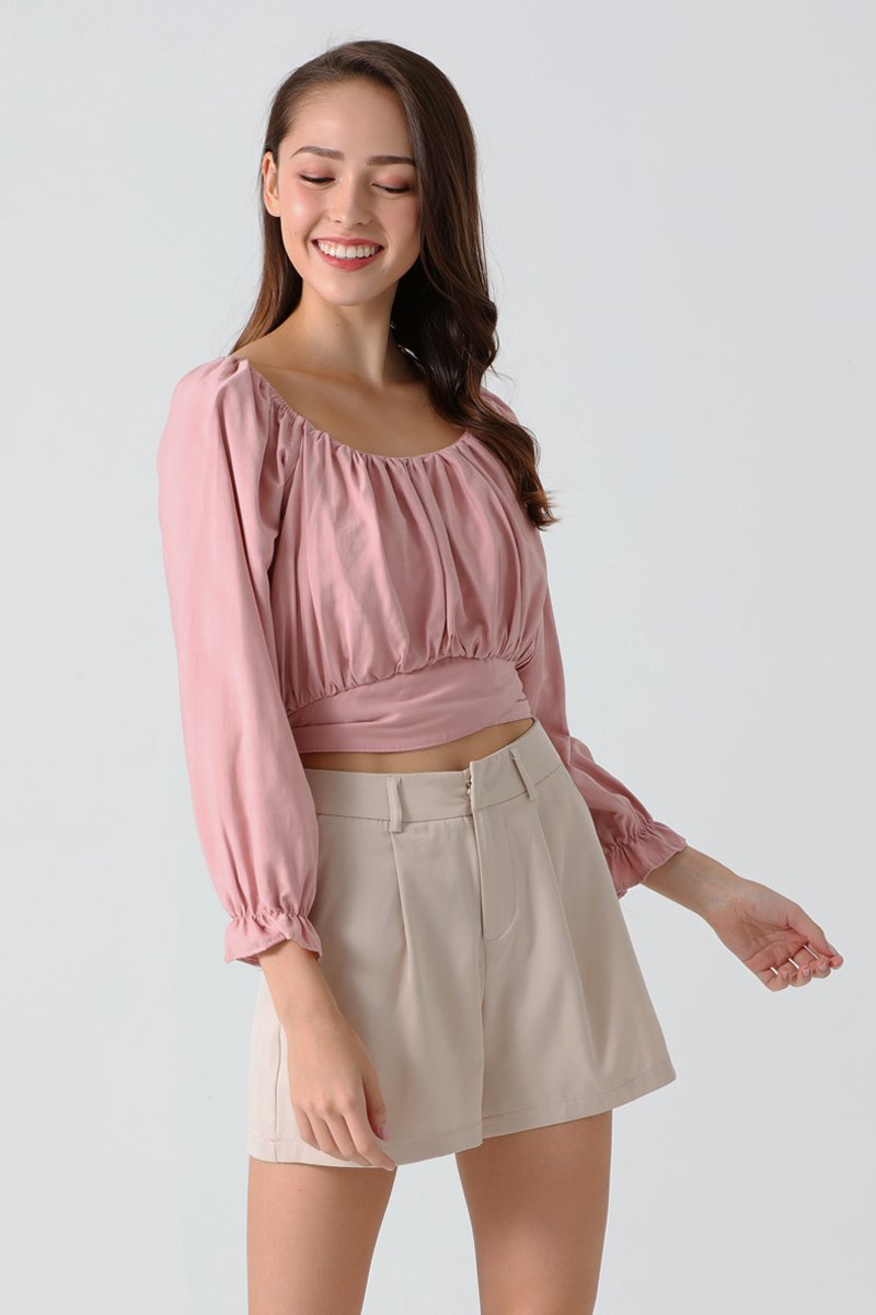 Breonna Gathered Wrap Top Blush