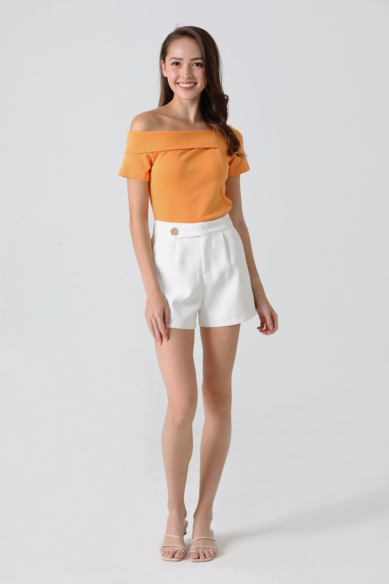 Lorna Textured Button Shorts Ivory