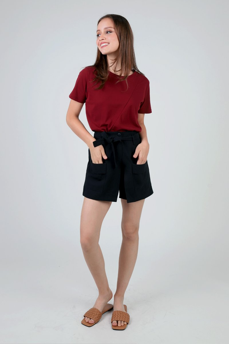 Damita Overlap Shorts Black