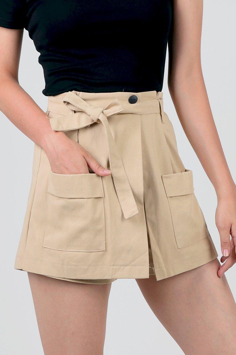 Damita Overlap Shorts Khaki