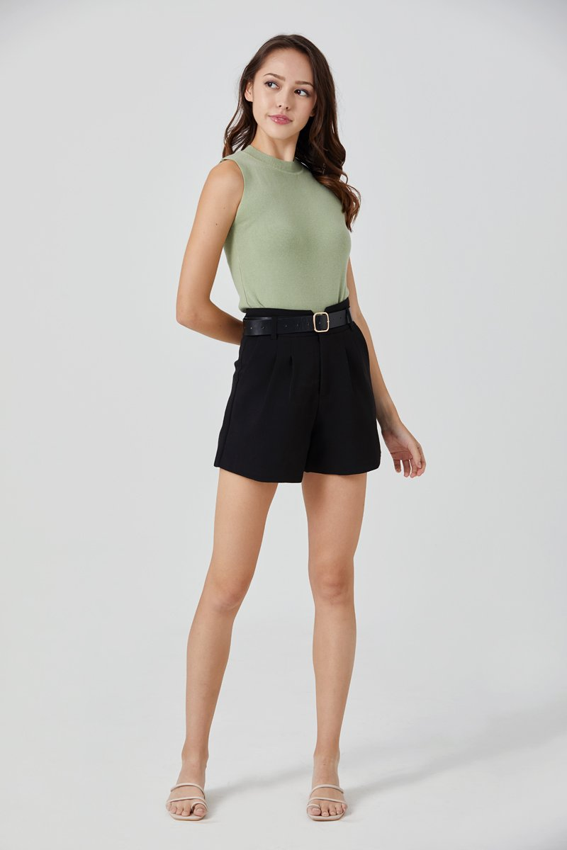 Jovelle Belted Pleated Shorts Black