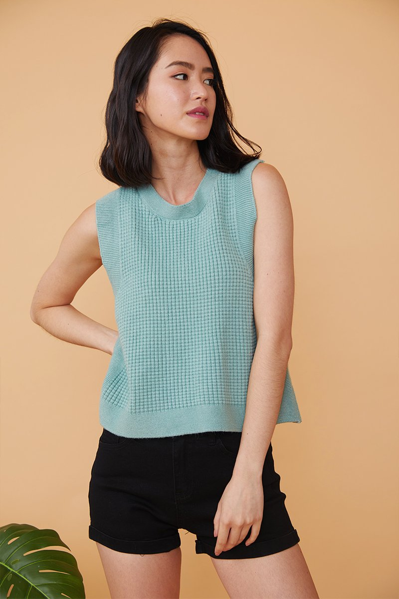 Monica Sleeveless Knitted Top Sage