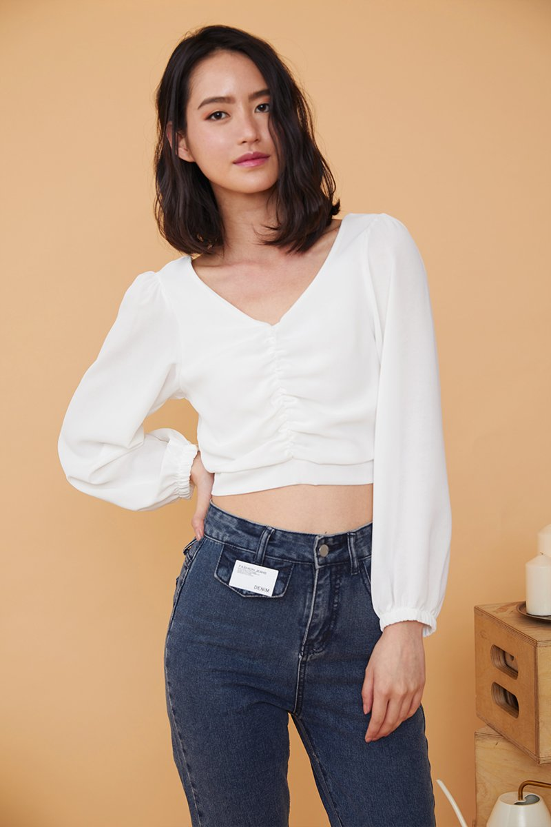 Leanna Front Ruched Crop Top Ivory