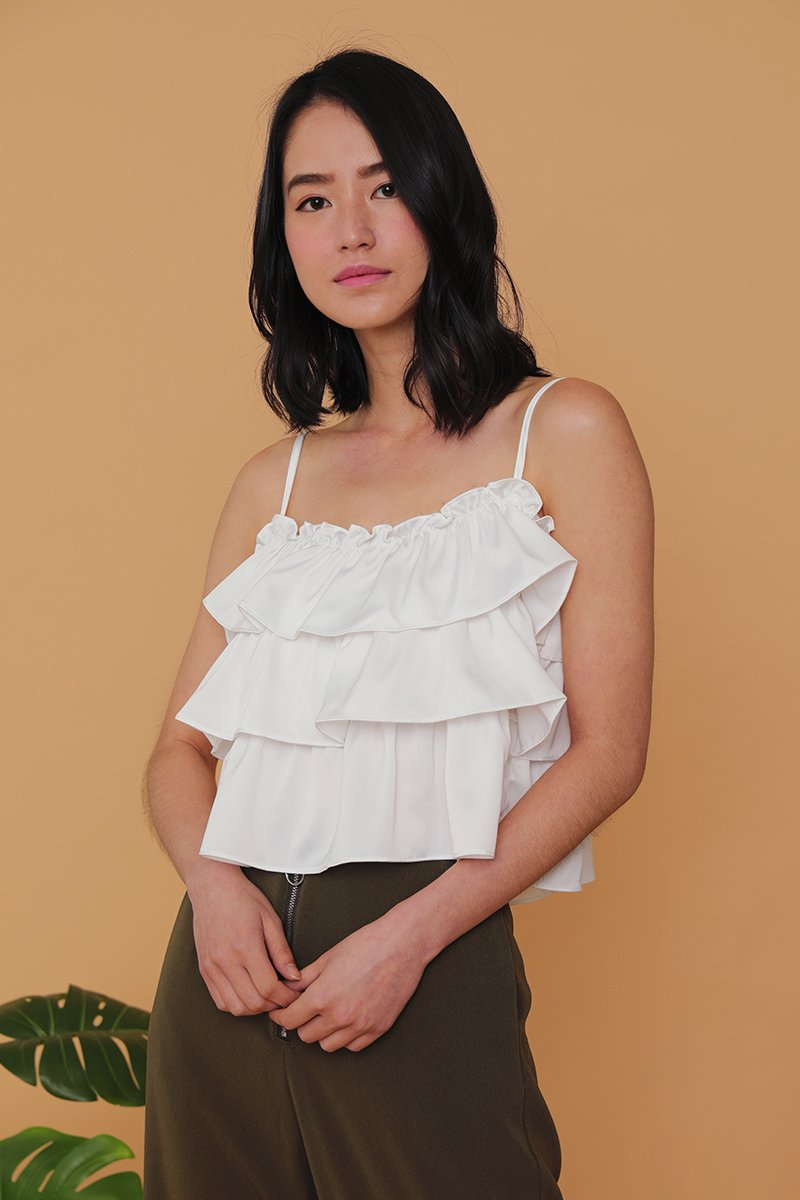 Kylee Tiered Cami Top Ivory