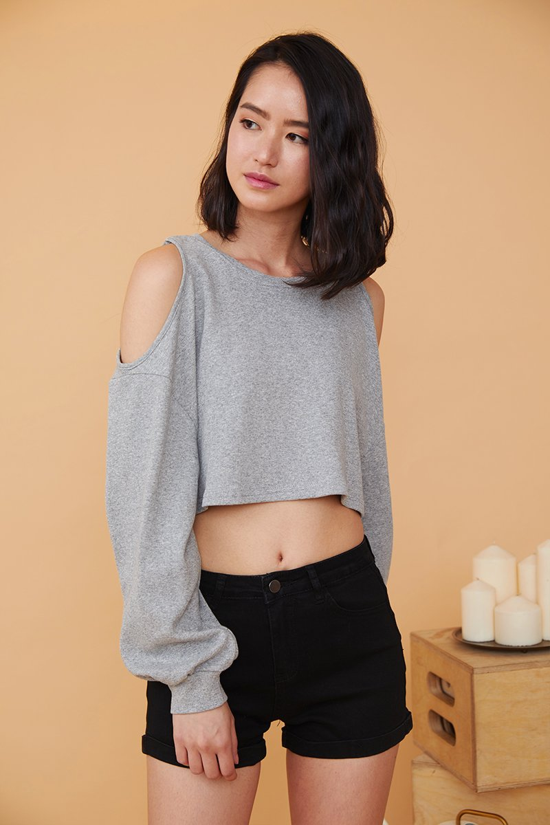Heather Cold Shoulder Cropped Sweater Grey