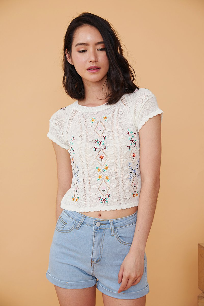 Melody Embroidered Floral Knit Top Ivory