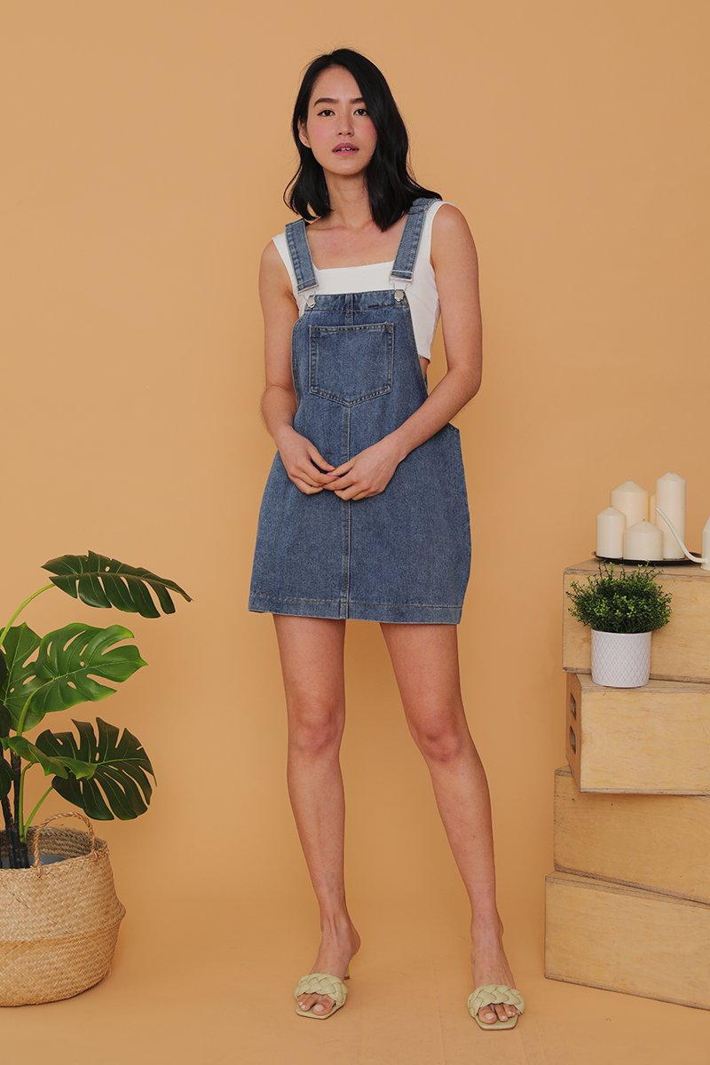 Jewel Denim Pinafore Darkwash