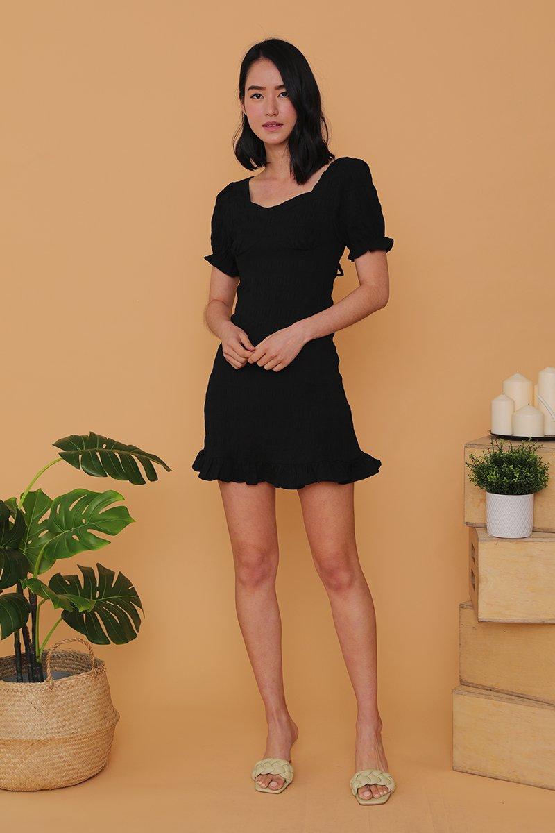 Adriane Ruffled Tie Back Dress Black