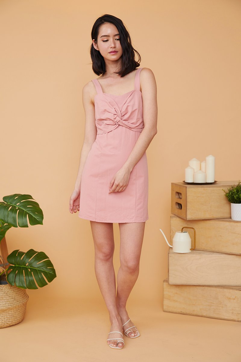 Ivette Front Knot Dress Blush