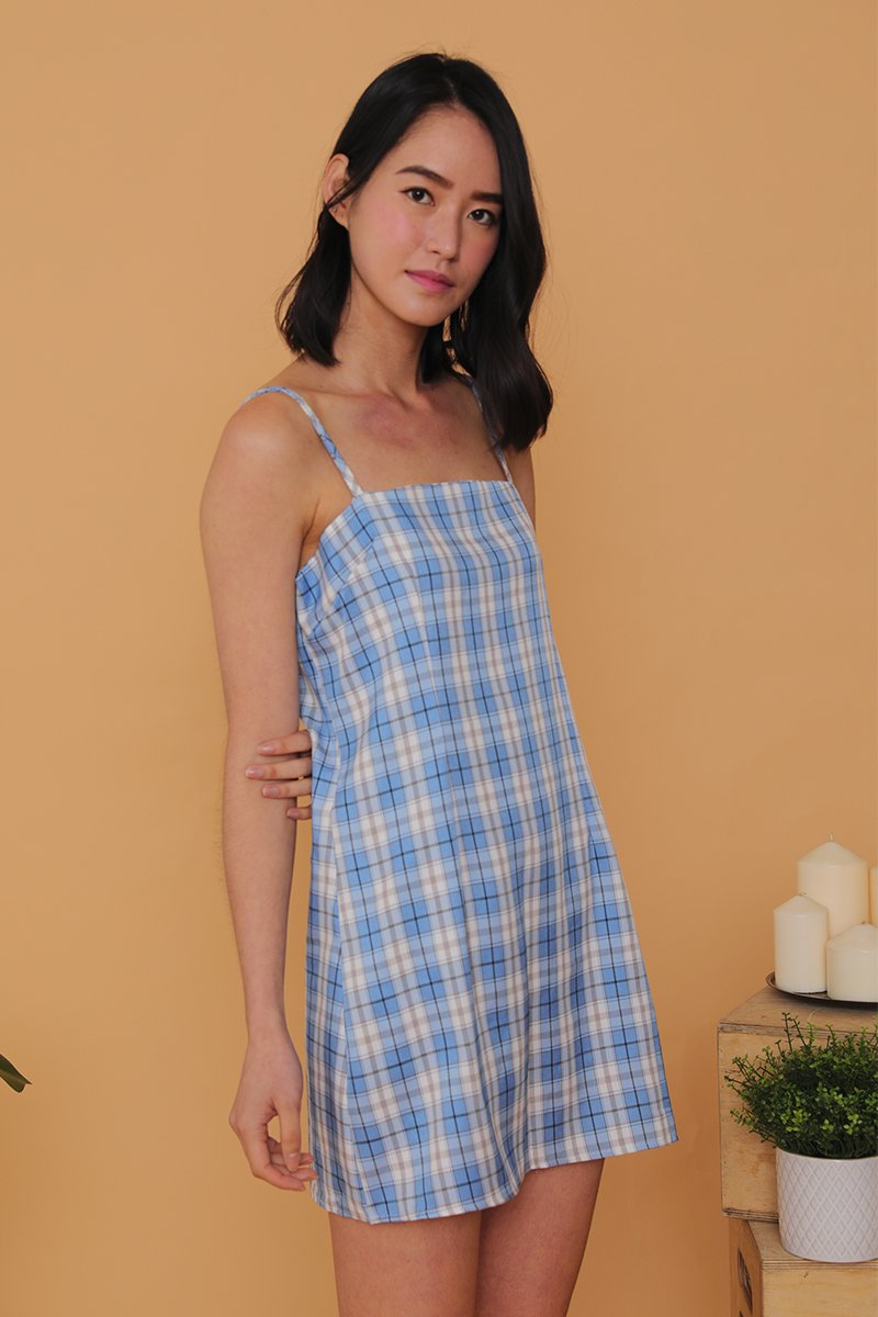 Indy Checkered Cami Dress Sky