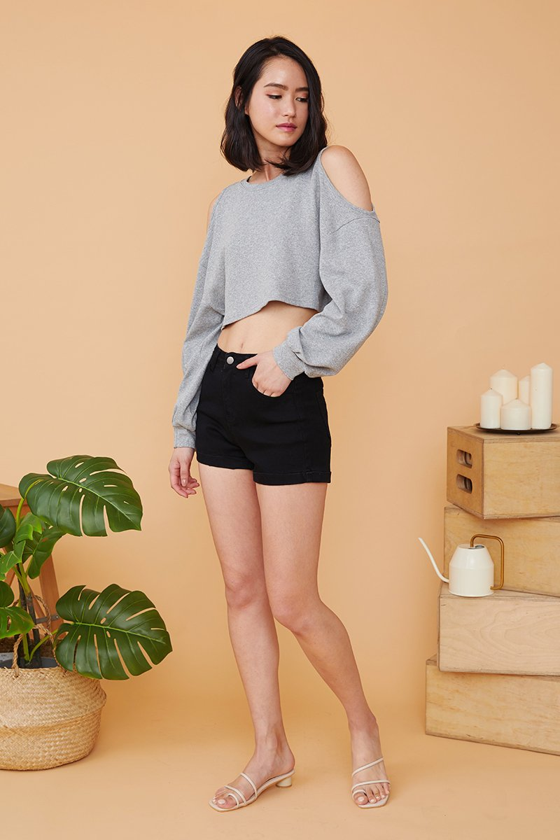 Crystal High Waisted Cuffed Hem Denim Shorts Black